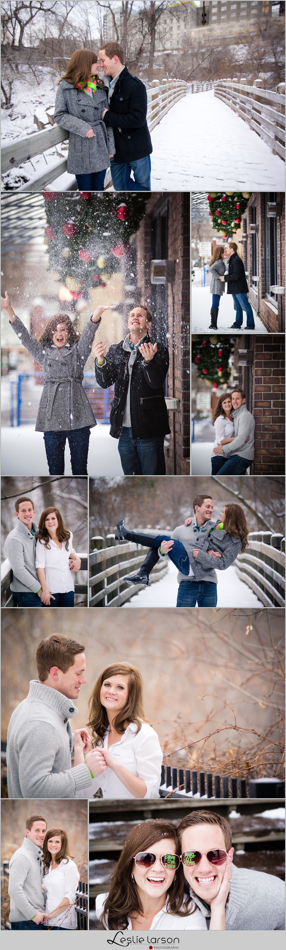 Stone Arch Bridge Winter engagement leslie larson photography