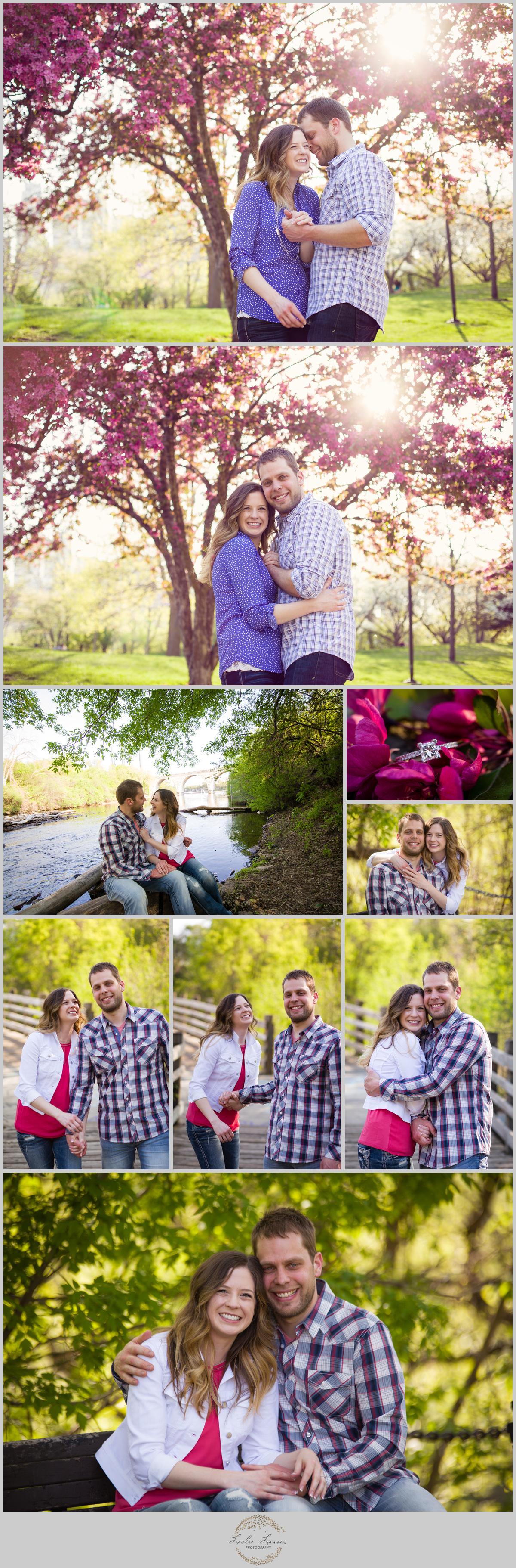 stone arch bridge engagement session spring wedding leslie larson photography